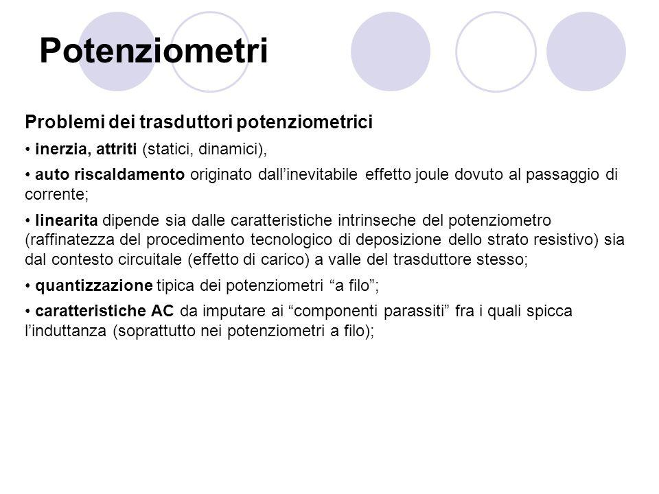 Potenziometri Problemi dei trasduttori potenziometrici