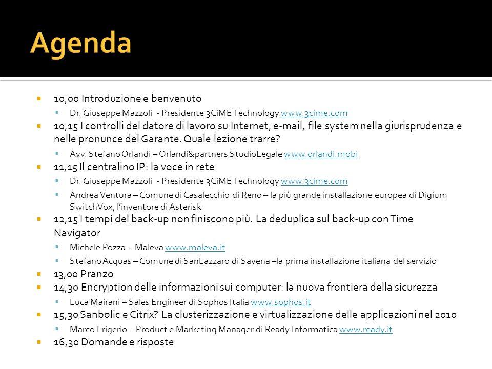 Agenda 10,00 Introduzione e benvenuto