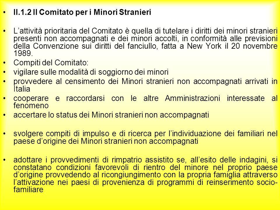 II.1.2 Il Comitato per i Minori Stranieri