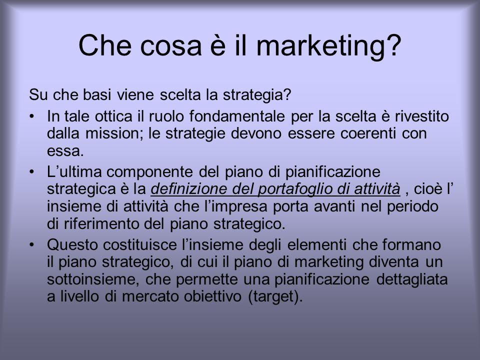 Che cosa è il marketing Su che basi viene scelta la strategia