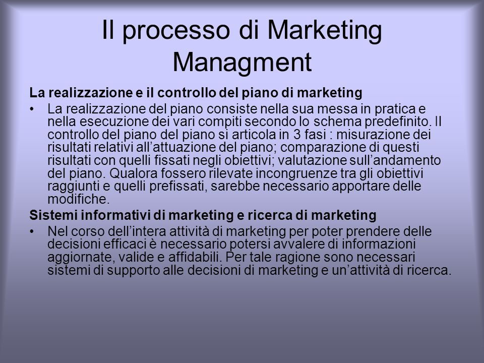 Il processo di Marketing Managment
