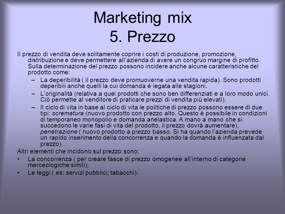 Marketing mix 5. Prezzo