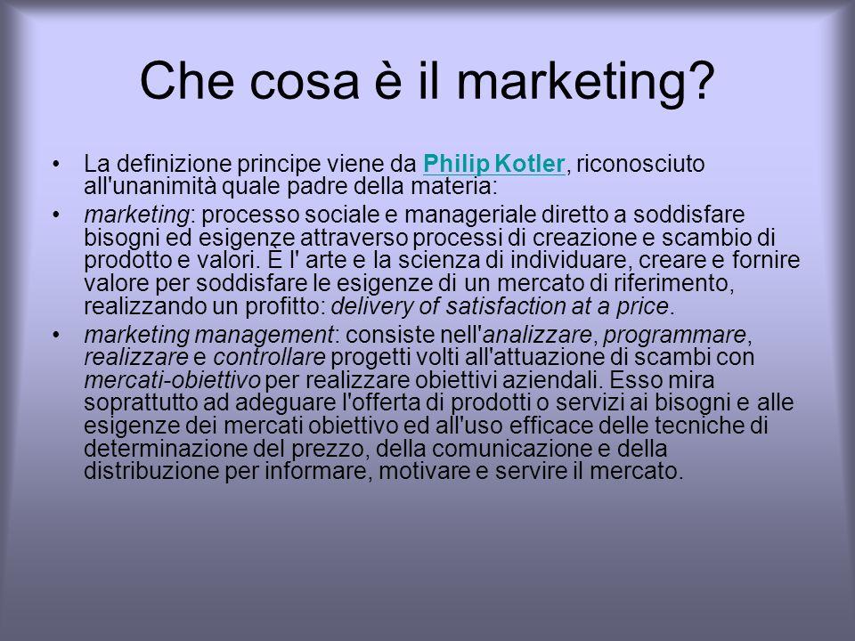 Che cosa è il marketing La definizione principe viene da Philip Kotler, riconosciuto all unanimità quale padre della materia: