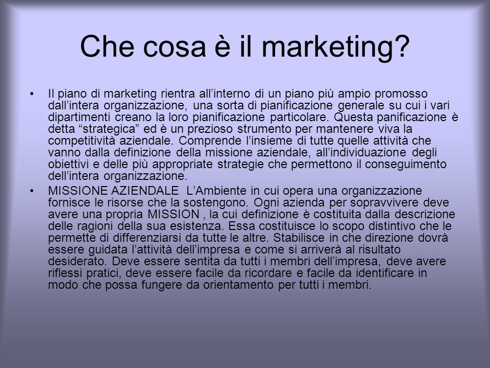 Che cosa è il marketing