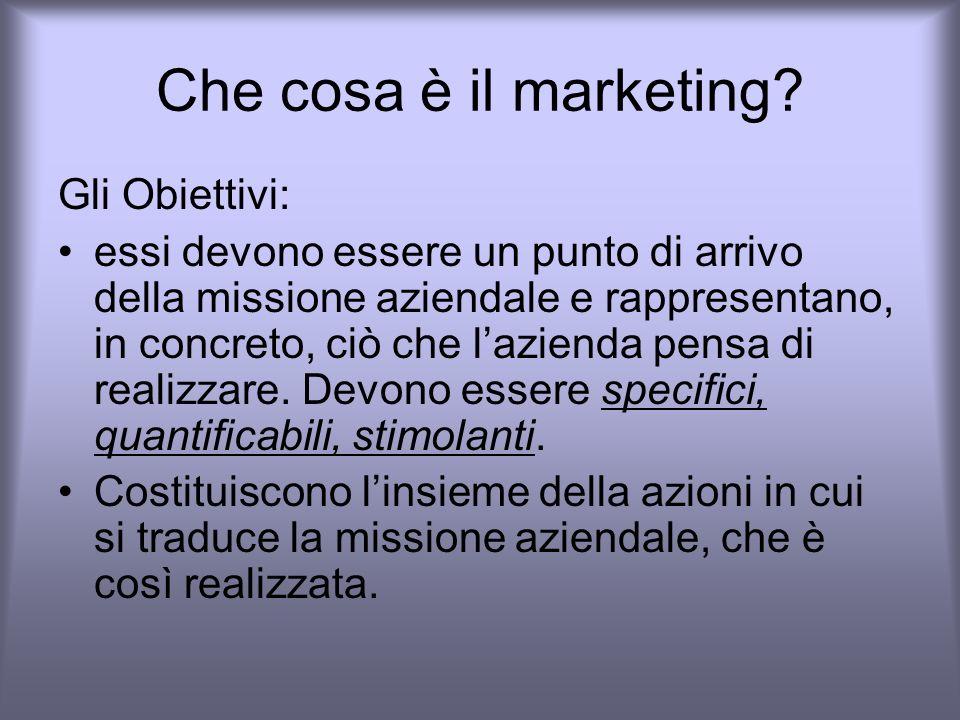 Che cosa è il marketing Gli Obiettivi:
