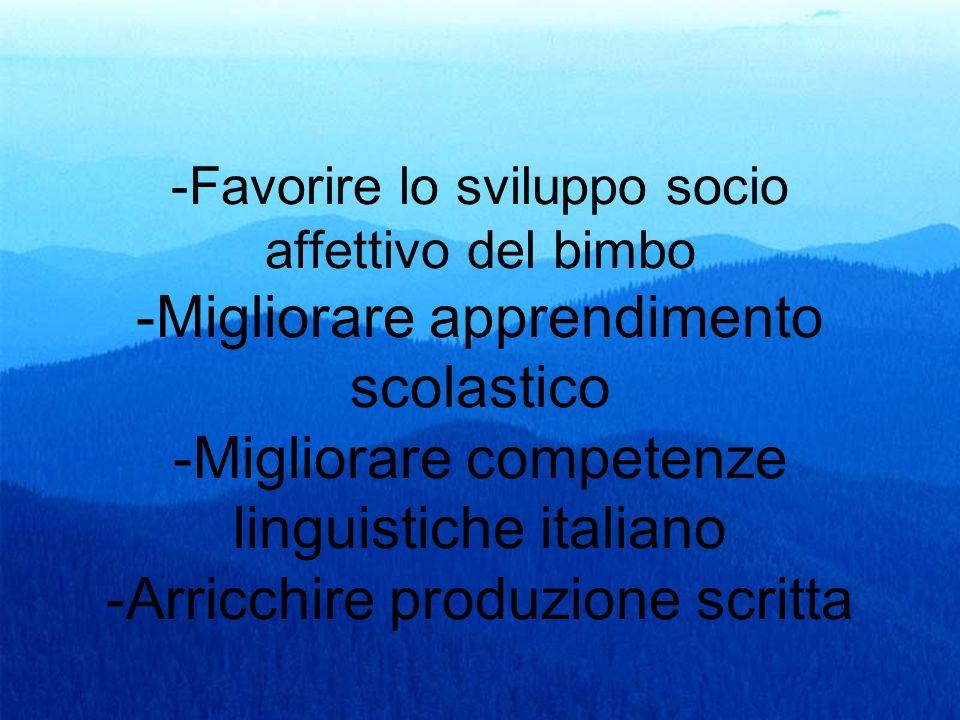 -Favorire lo sviluppo socio affettivo del bimbo -Migliorare apprendimento scolastico -Migliorare competenze linguistiche italiano -Arricchire produzione scritta
