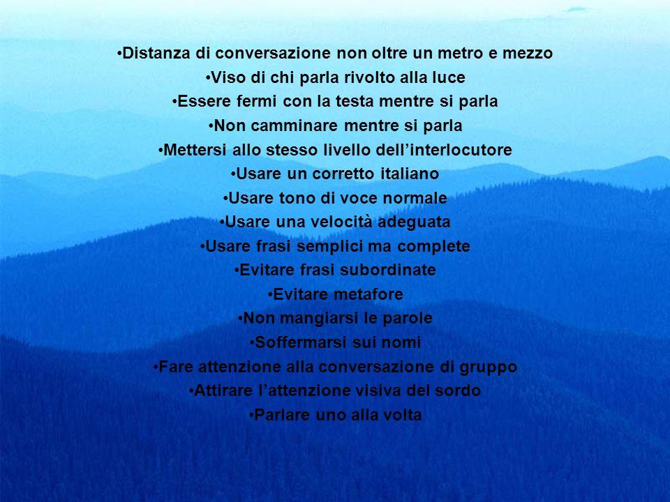 Distanza di conversazione non oltre un metro e mezzo