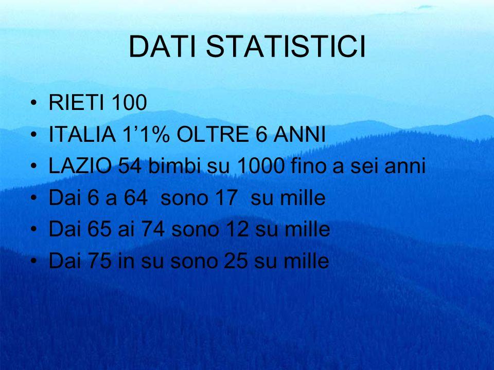 DATI STATISTICI RIETI 100 ITALIA 1'1% OLTRE 6 ANNI