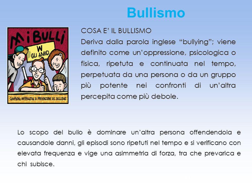 Bullismo COSA E' IL BULLISMO