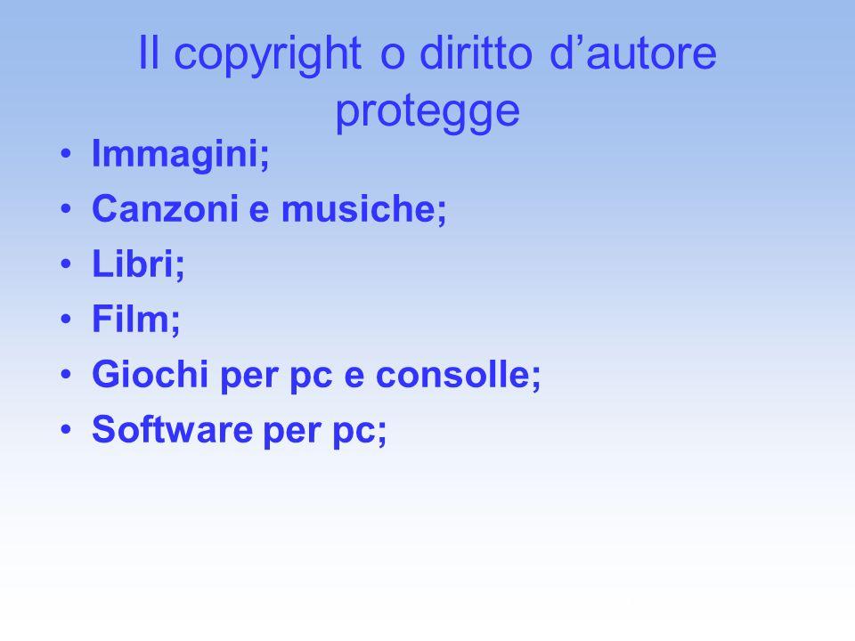Il copyright o diritto d'autore protegge