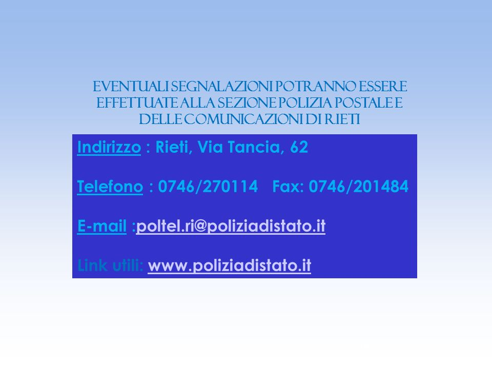 Indirizzo : Rieti, Via Tancia, 62