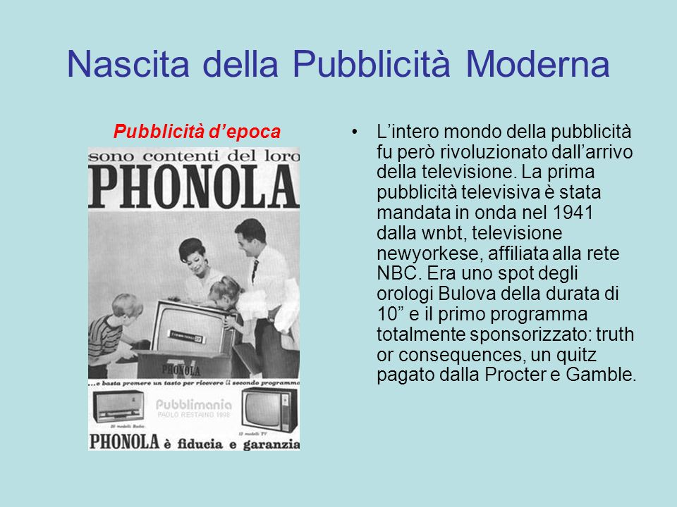 Nascita della Pubblicità Moderna