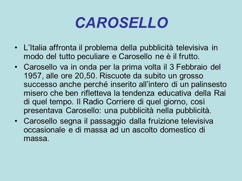 CAROSELLO L'Italia affronta il problema della pubblicità televisiva in modo del tutto peculiare e Carosello ne è il frutto.
