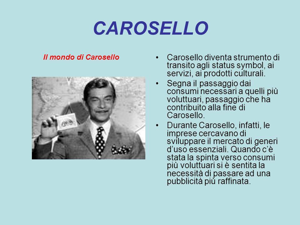 CAROSELLO Il mondo di Carosello. Carosello diventa strumento di transito agli status symbol, ai servizi, ai prodotti culturali.