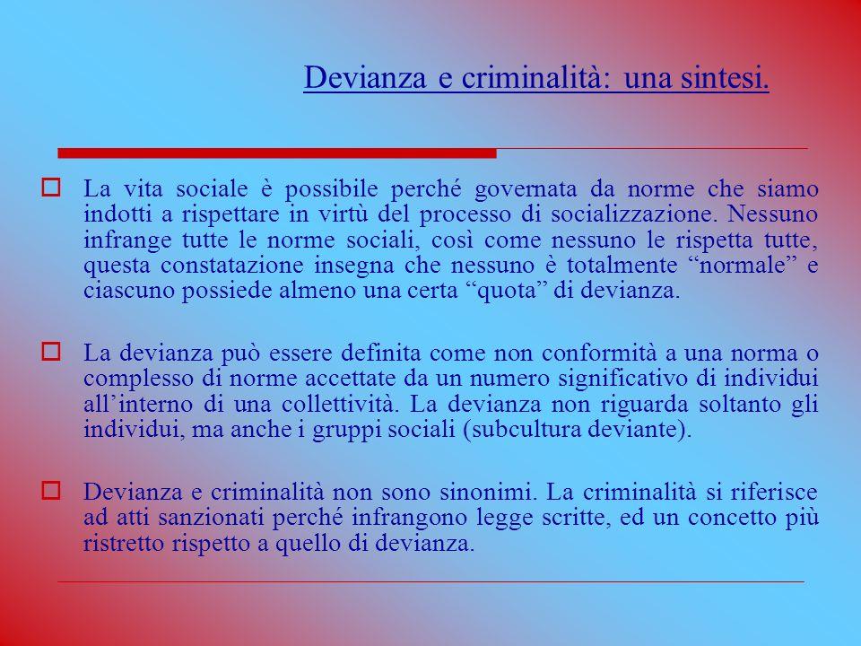 Devianza e criminalità: una sintesi.