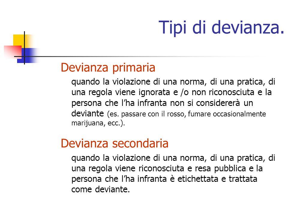 Tipi di devianza. Devianza primaria Devianza secondaria