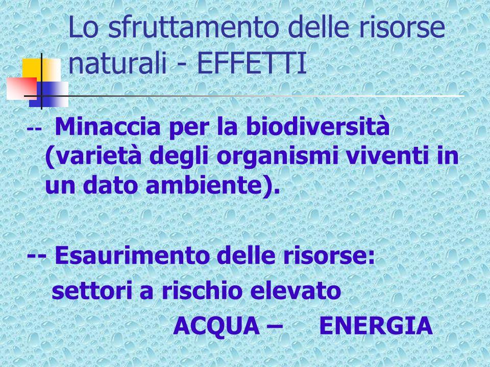 Lo sfruttamento delle risorse naturali - EFFETTI