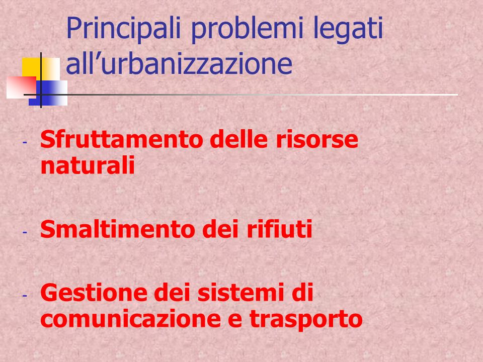 Principali problemi legati all'urbanizzazione