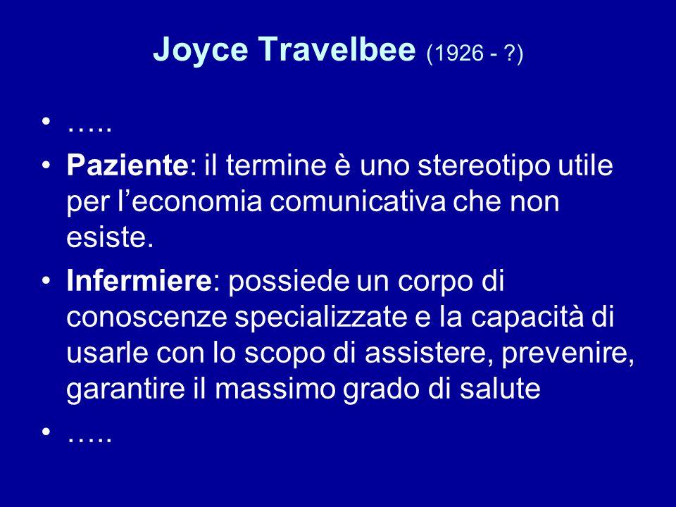 Joyce Travelbee (1926 - ) ….. Paziente: il termine è uno stereotipo utile per l'economia comunicativa che non esiste.