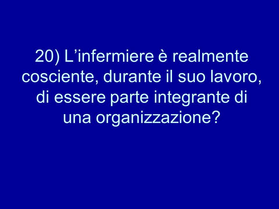 20) L'infermiere è realmente cosciente, durante il suo lavoro, di essere parte integrante di una organizzazione