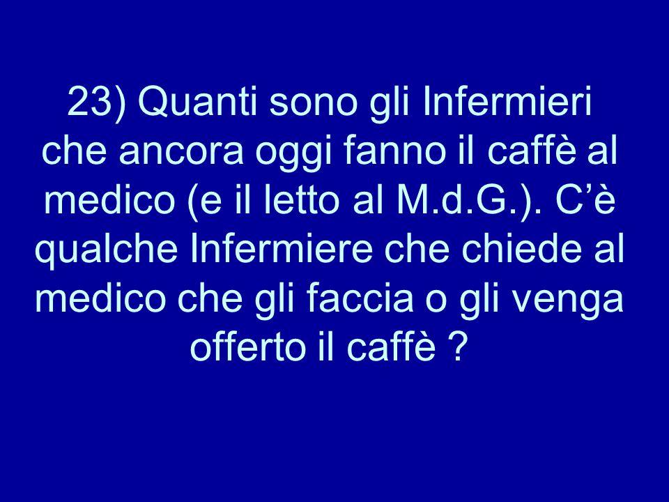 23) Quanti sono gli Infermieri che ancora oggi fanno il caffè al medico (e il letto al M.d.G.).