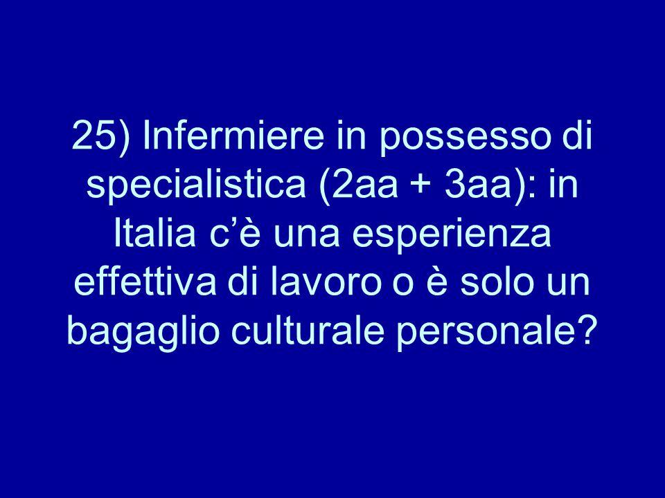 25) Infermiere in possesso di specialistica (2aa + 3aa): in Italia c'è una esperienza effettiva di lavoro o è solo un bagaglio culturale personale