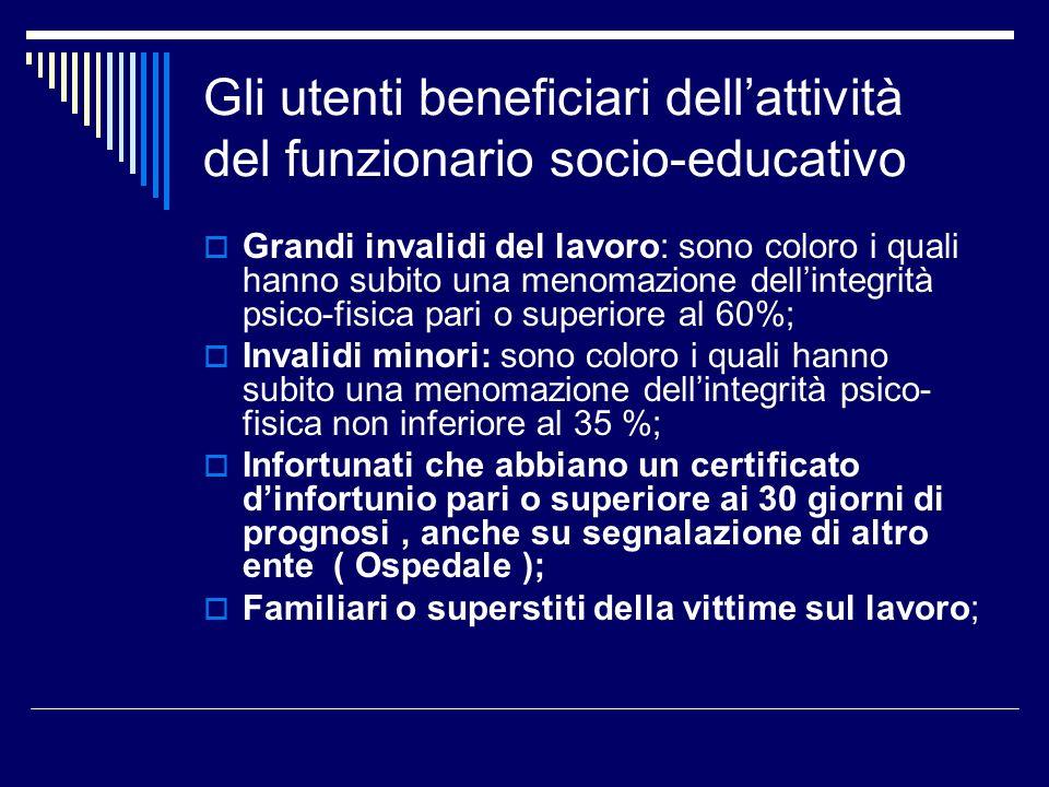Gli utenti beneficiari dell'attività del funzionario socio-educativo
