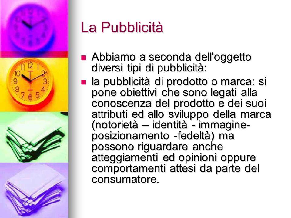 La Pubblicità Abbiamo a seconda dell'oggetto diversi tipi di pubblicità: