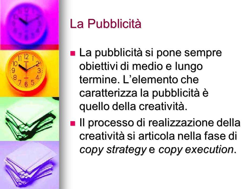 La Pubblicità La pubblicità si pone sempre obiettivi di medio e lungo termine. L'elemento che caratterizza la pubblicità è quello della creatività.