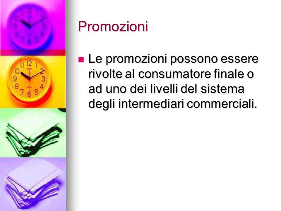 Promozioni Le promozioni possono essere rivolte al consumatore finale o ad uno dei livelli del sistema degli intermediari commerciali.