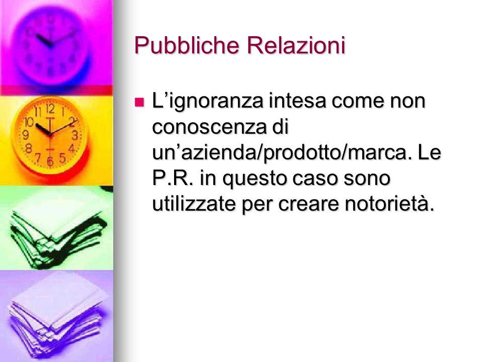 Pubbliche Relazioni L'ignoranza intesa come non conoscenza di un'azienda/prodotto/marca.