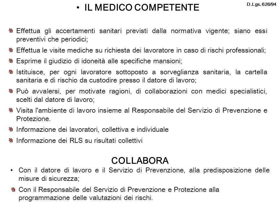 IL MEDICO COMPETENTE COLLABORA