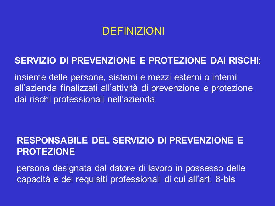DEFINIZIONI SERVIZIO DI PREVENZIONE E PROTEZIONE DAI RISCHI: