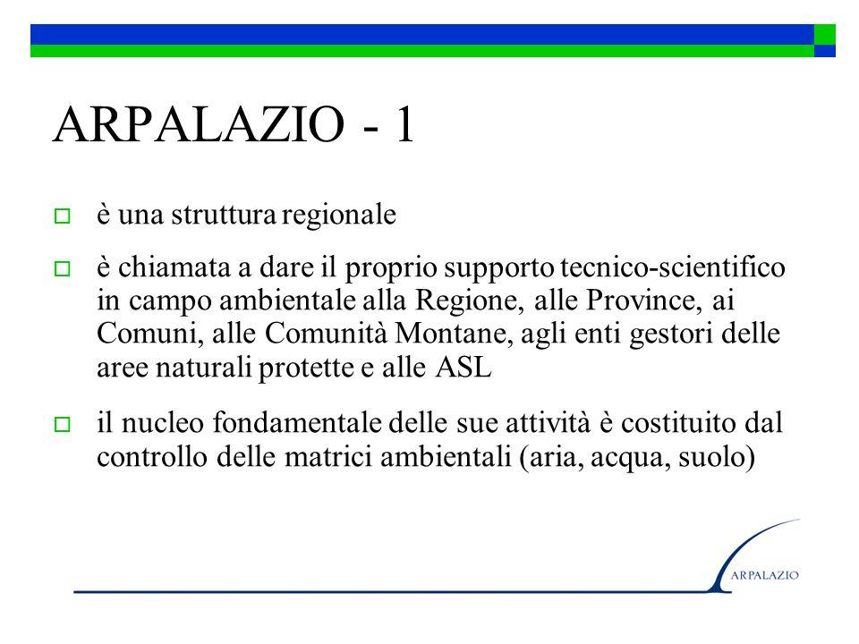 ARPALAZIO - 1 è una struttura regionale