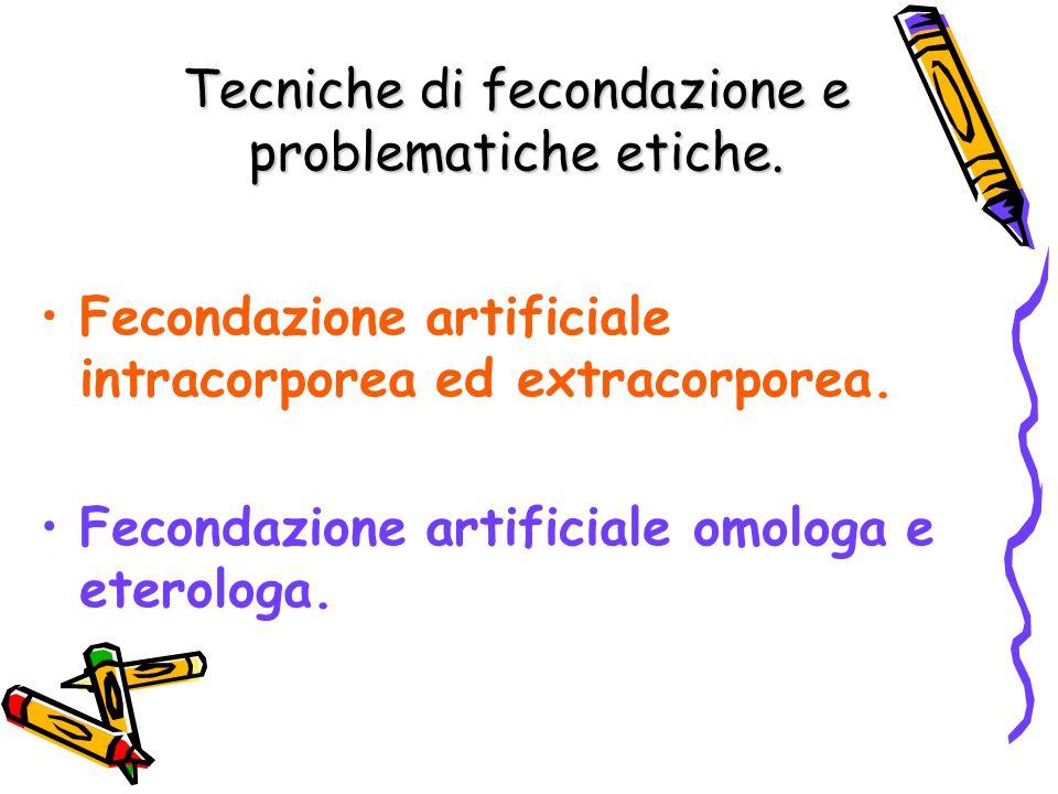 Tecniche di fecondazione e problematiche etiche.