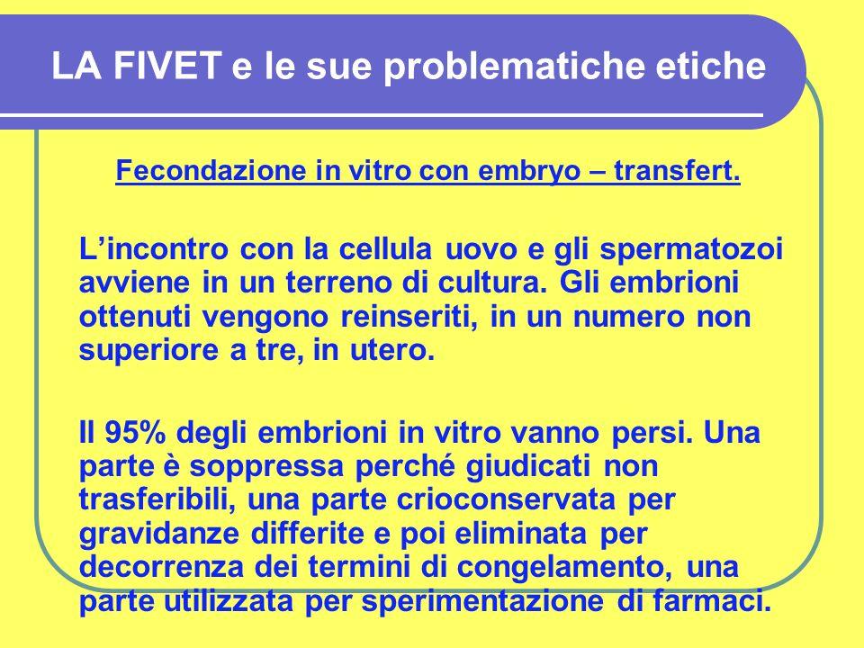 LA FIVET e le sue problematiche etiche