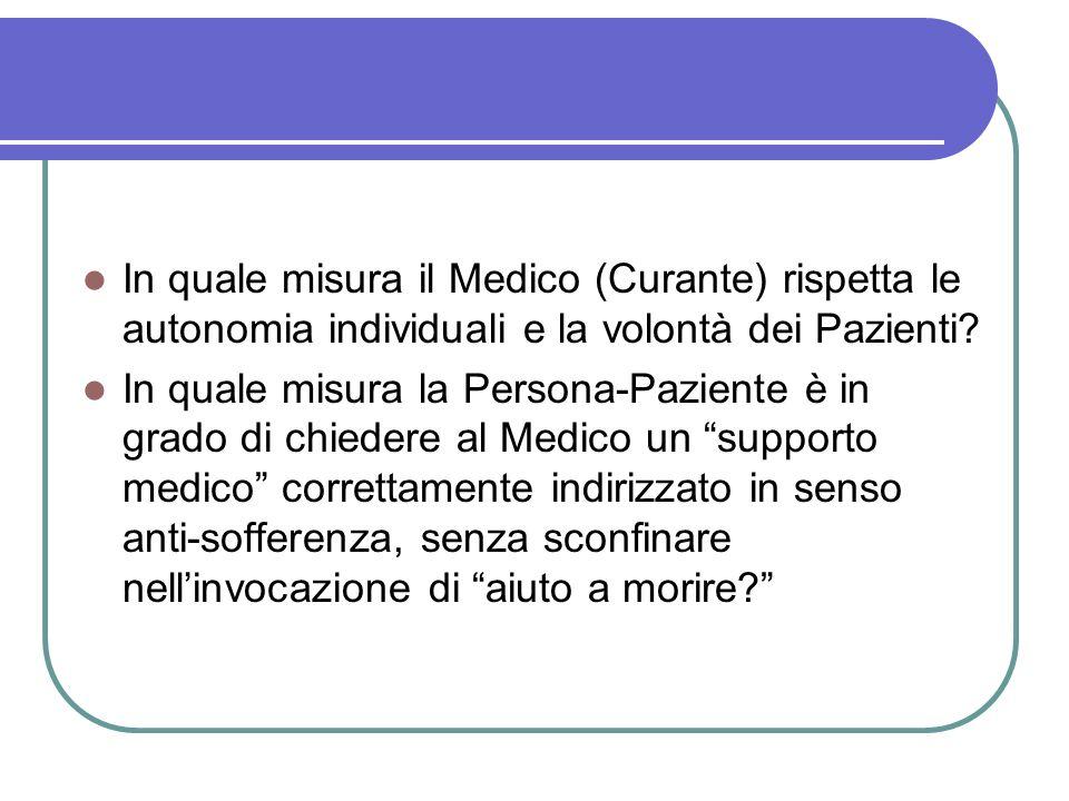 In quale misura il Medico (Curante) rispetta le autonomia individuali e la volontà dei Pazienti