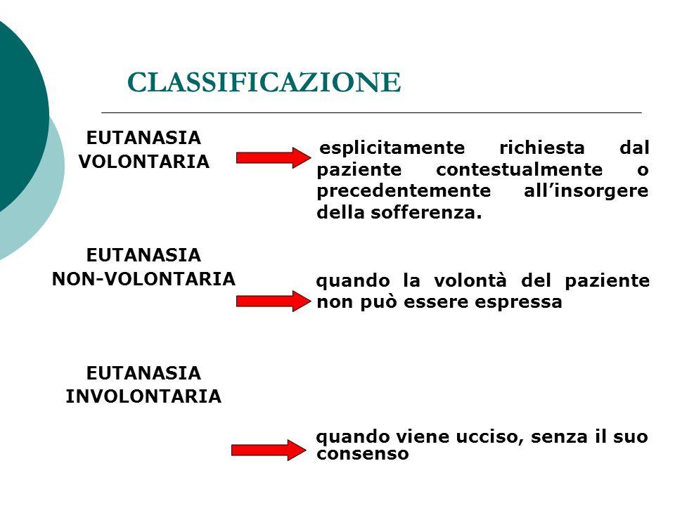 CLASSIFICAZIONE EUTANASIA. VOLONTARIA. NON-VOLONTARIA. INVOLONTARIA.