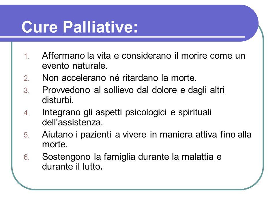 Cure Palliative: Affermano la vita e considerano il morire come un evento naturale. Non accelerano né ritardano la morte.
