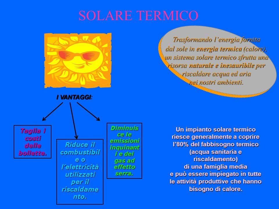 SOLARE TERMICO Trasformando l'energia fornita