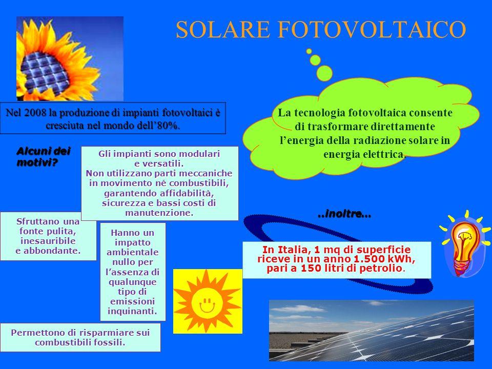 SOLARE FOTOVOLTAICO Nel 2008 la produzione di impianti fotovoltaici è cresciuta nel mondo dell'80%.