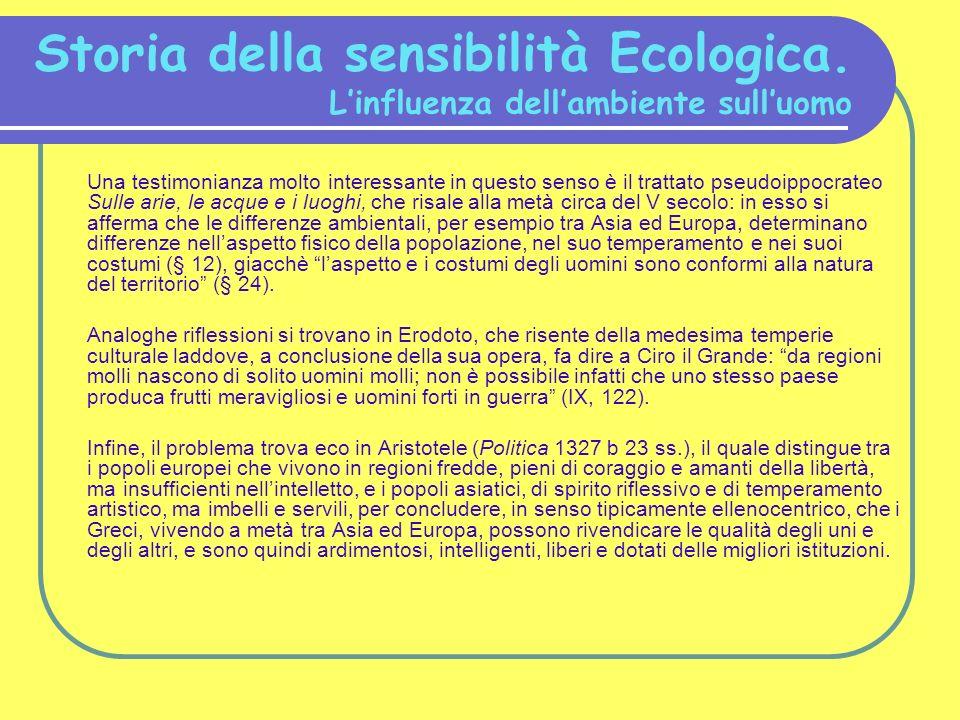 Storia della sensibilità Ecologica. L'influenza dell'ambiente sull'uomo