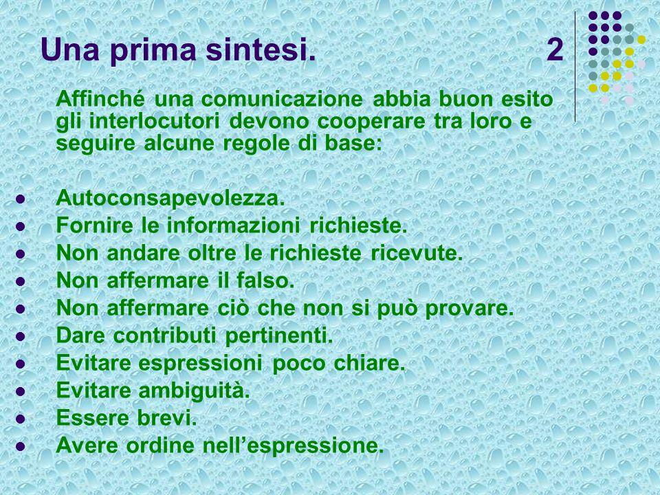 Una prima sintesi. 2 Affinché una comunicazione abbia buon esito gli interlocutori devono cooperare tra loro e seguire alcune regole di base: