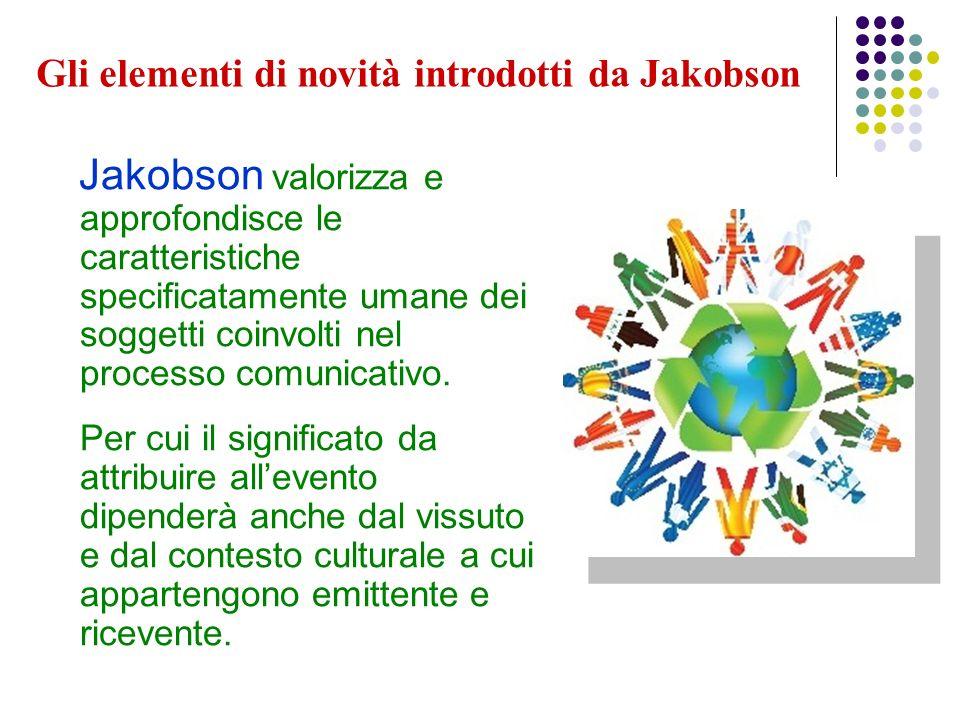 Gli elementi di novità introdotti da Jakobson