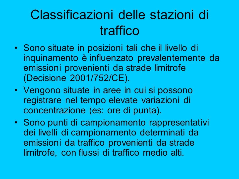 Classificazioni delle stazioni di traffico