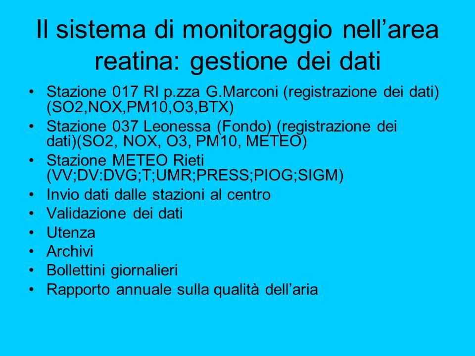 Il sistema di monitoraggio nell'area reatina: gestione dei dati