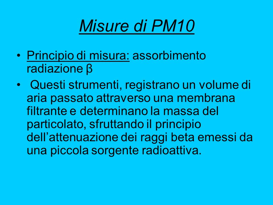 Misure di PM10 Principio di misura: assorbimento radiazione β