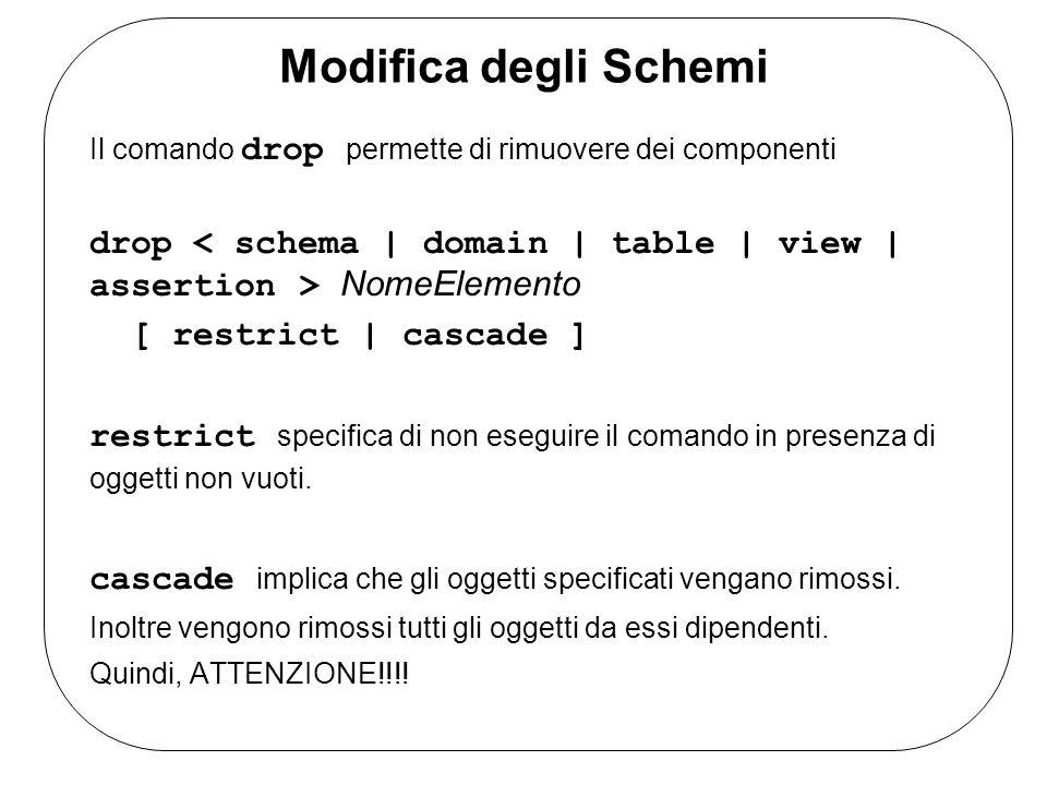 Modifica degli Schemi Il comando drop permette di rimuovere dei componenti. drop < schema | domain | table | view | assertion > NomeElemento.