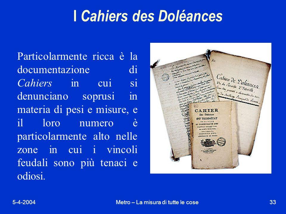 I Cahiers des Doléances
