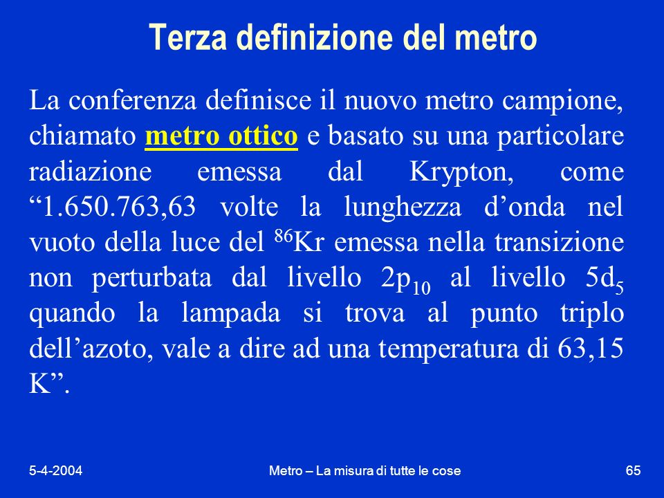 Terza definizione del metro